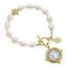 Susan Shaw Handcast Gold & Silver Coin on Genuine Freshwater Pearl Bracelet