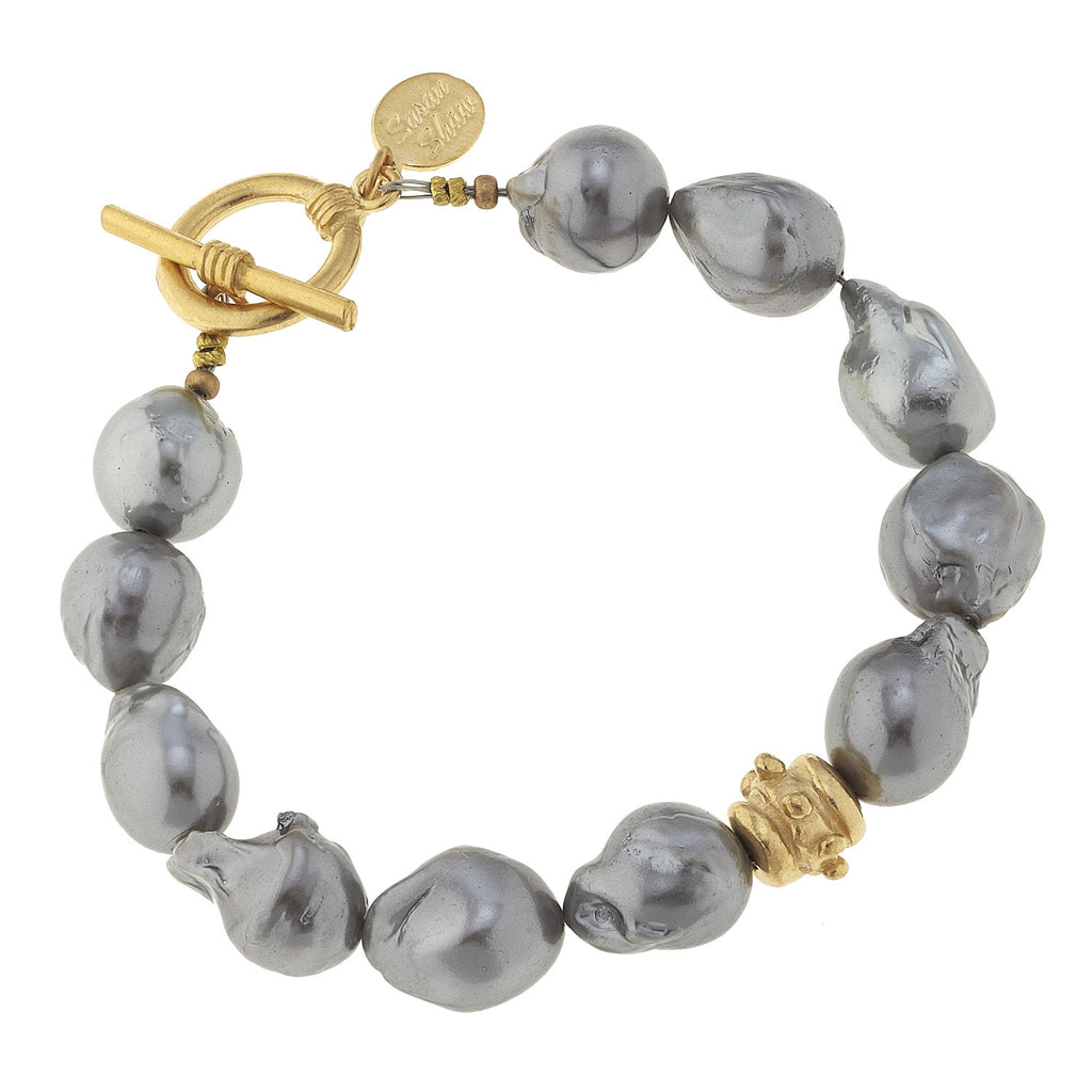 Susan Shaw Handcast Gold Bead & Genuine Grey Freshwater Baroque Pearl Bracelet