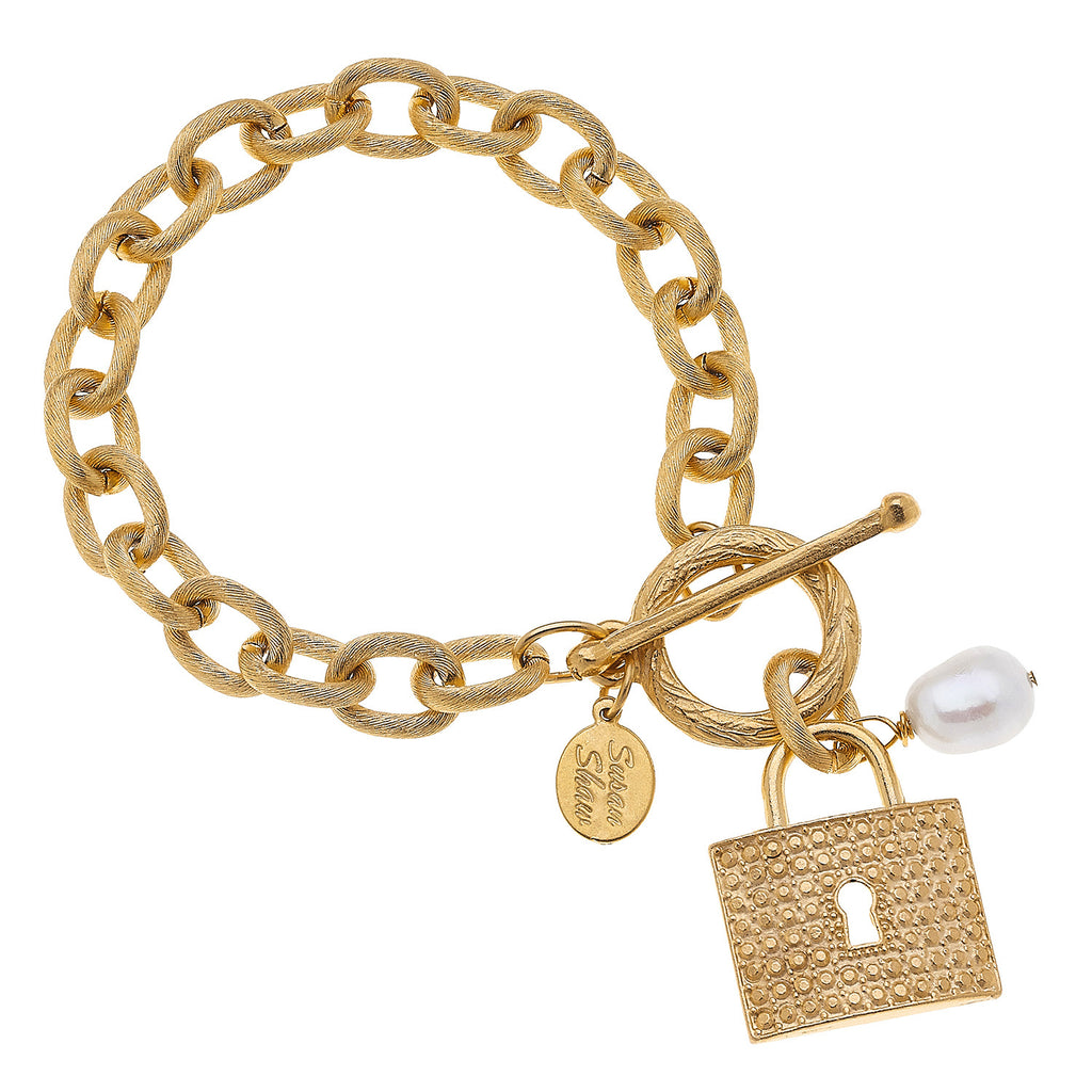Susan Shaw Handcast Gold Lock & Genuine Freshwater Pearl on Chain Toggle Bracelet