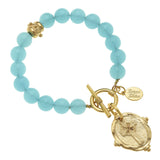 Susan Shaw Handcast Gold Cross Intaglio on Genuine Aqua Quartz Bracelet