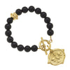 Susan Shaw Handcast Gold Bee Intaglio on Black Onyx Bracelet