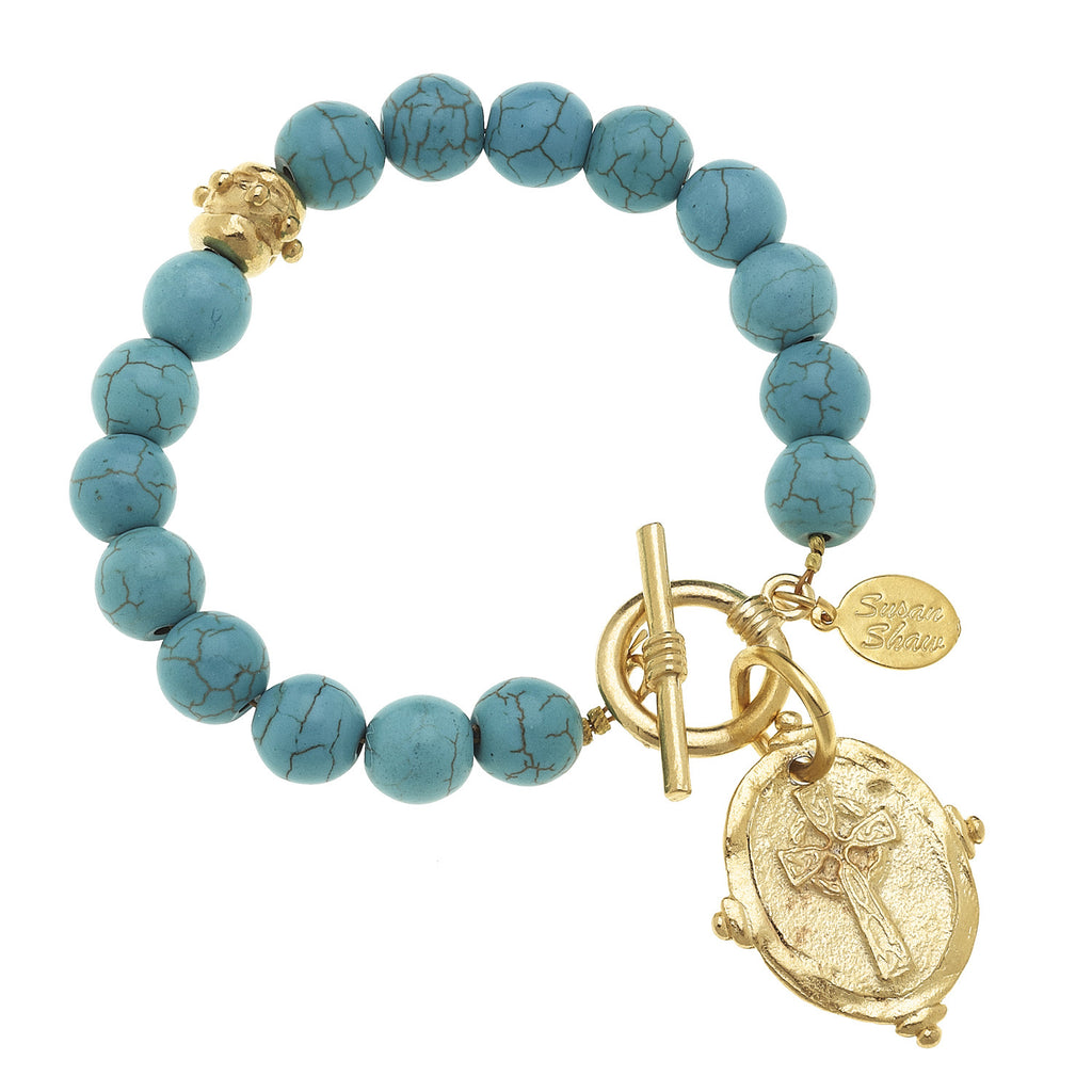 "Susan Shaw Genuine Turquoise with Italian Intaglio ""Cross"" Bracelet"