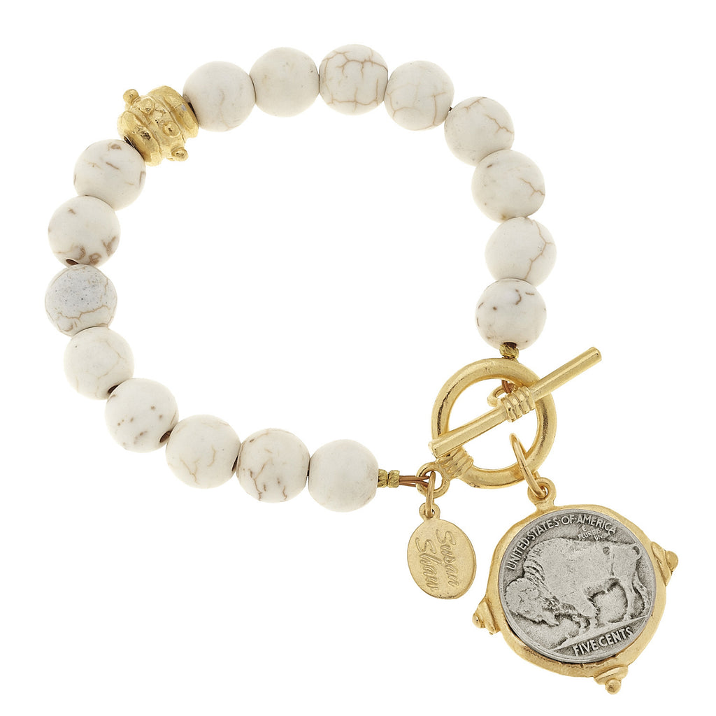 Susan Shaw Handcast Gold & Silver Genuine Buffalo Nickel on White Turquoise Bracelet