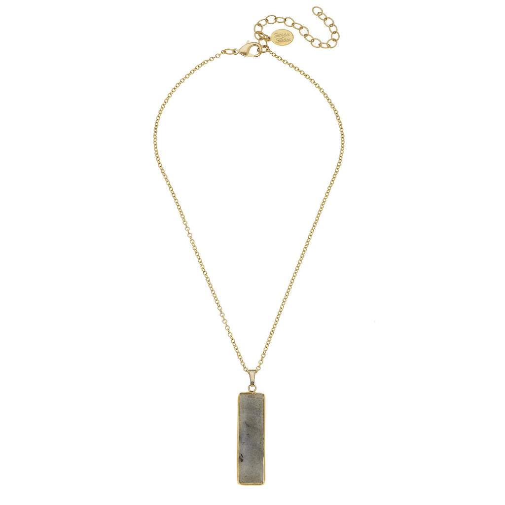 "Susan Shaw 15"" Handcast Gold Chain & Labradorite Bar Necklace"