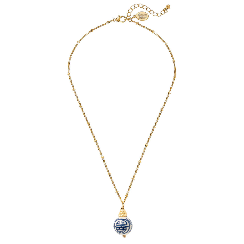 Susan Shaw Blue & White Porcelain Bead on Dotted Handcast Gold Chain Necklace