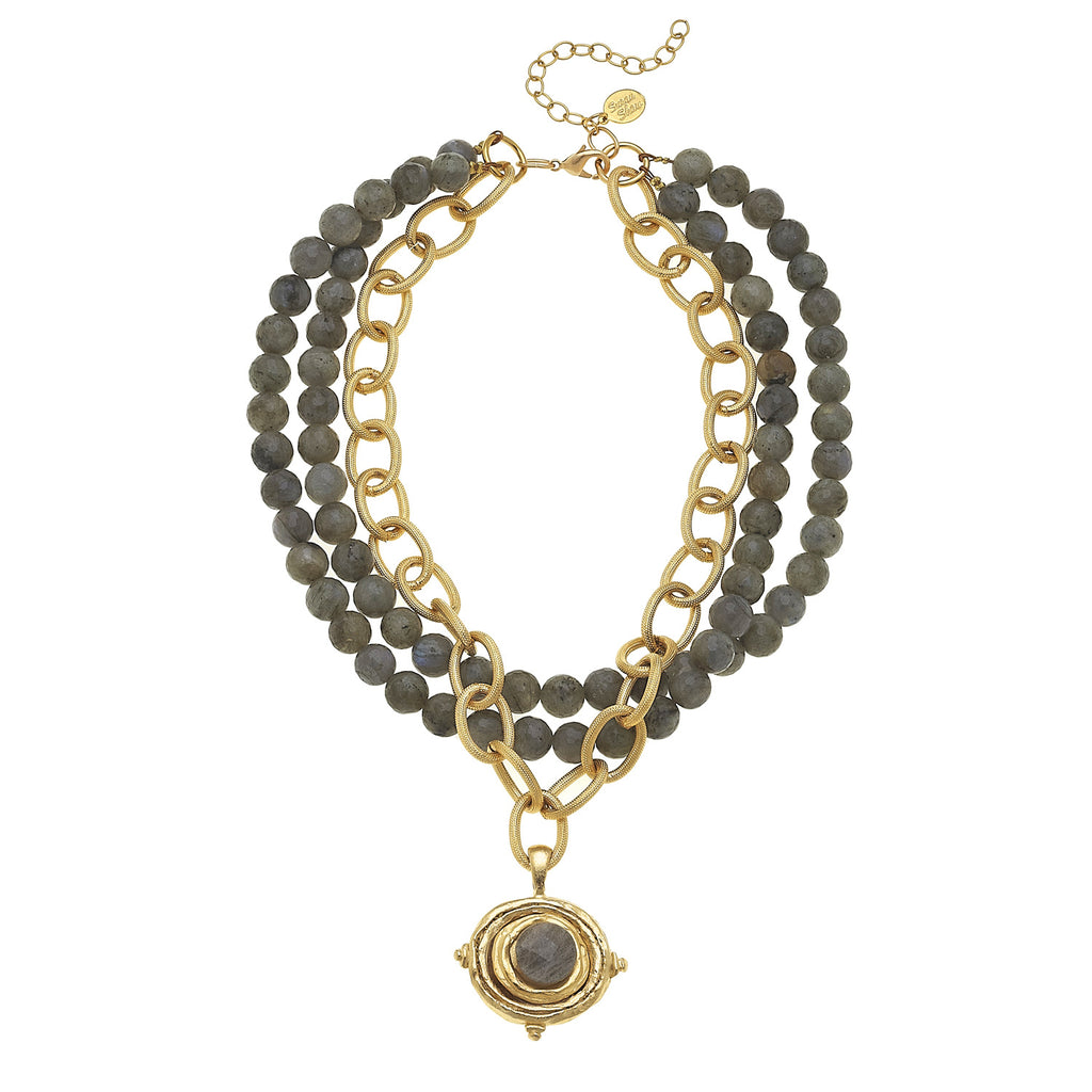 Susan Shaw Handcast Gold Oval on 3 Row Labradorite Necklace