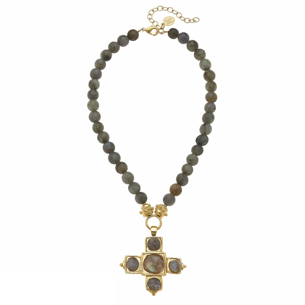 Susan Shaw Handcast Gold Cross & Labradorite Necklace