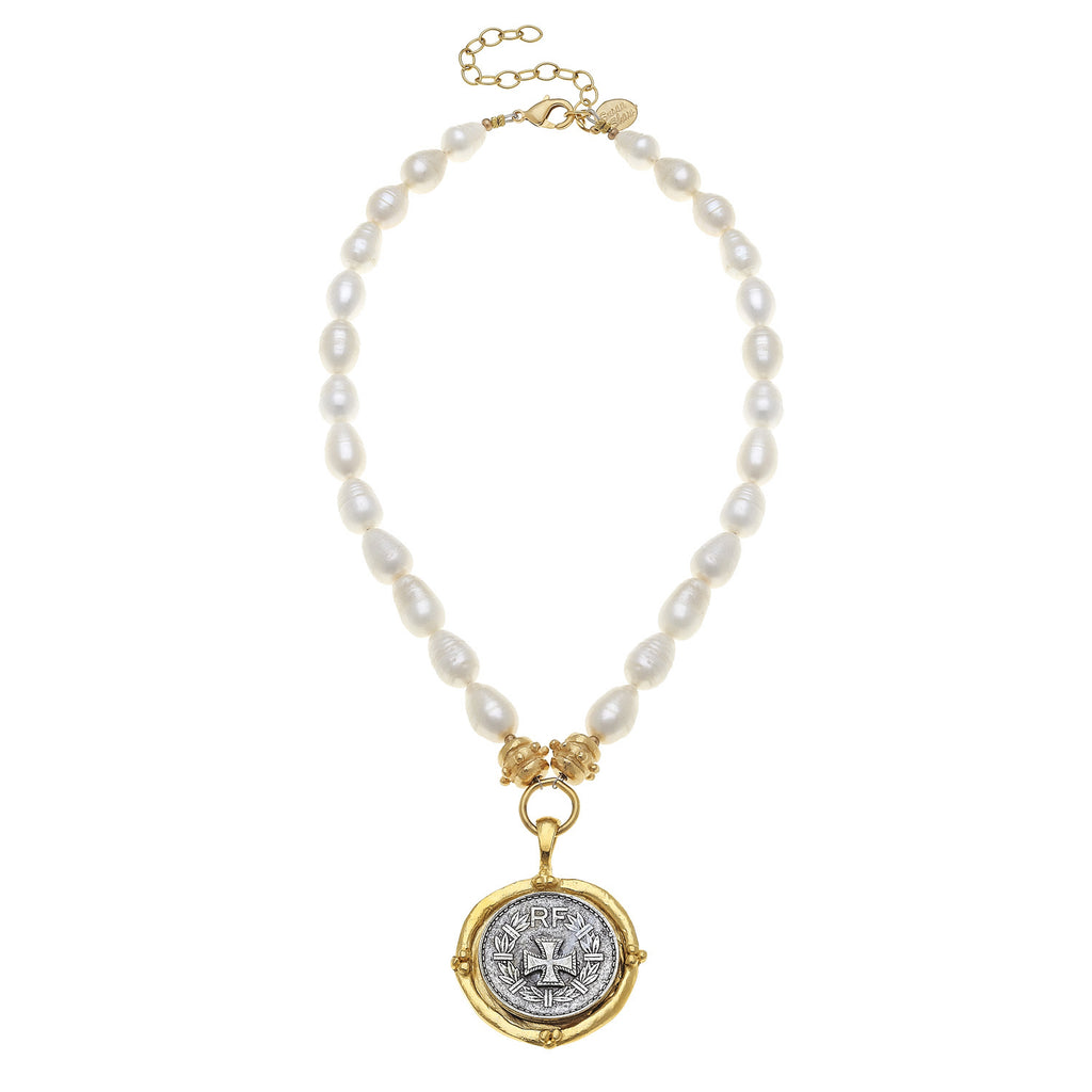 Susan Shaw Handcast Gold & Silver Cross on Genuine Freshwater Baroque Pearls Necklace