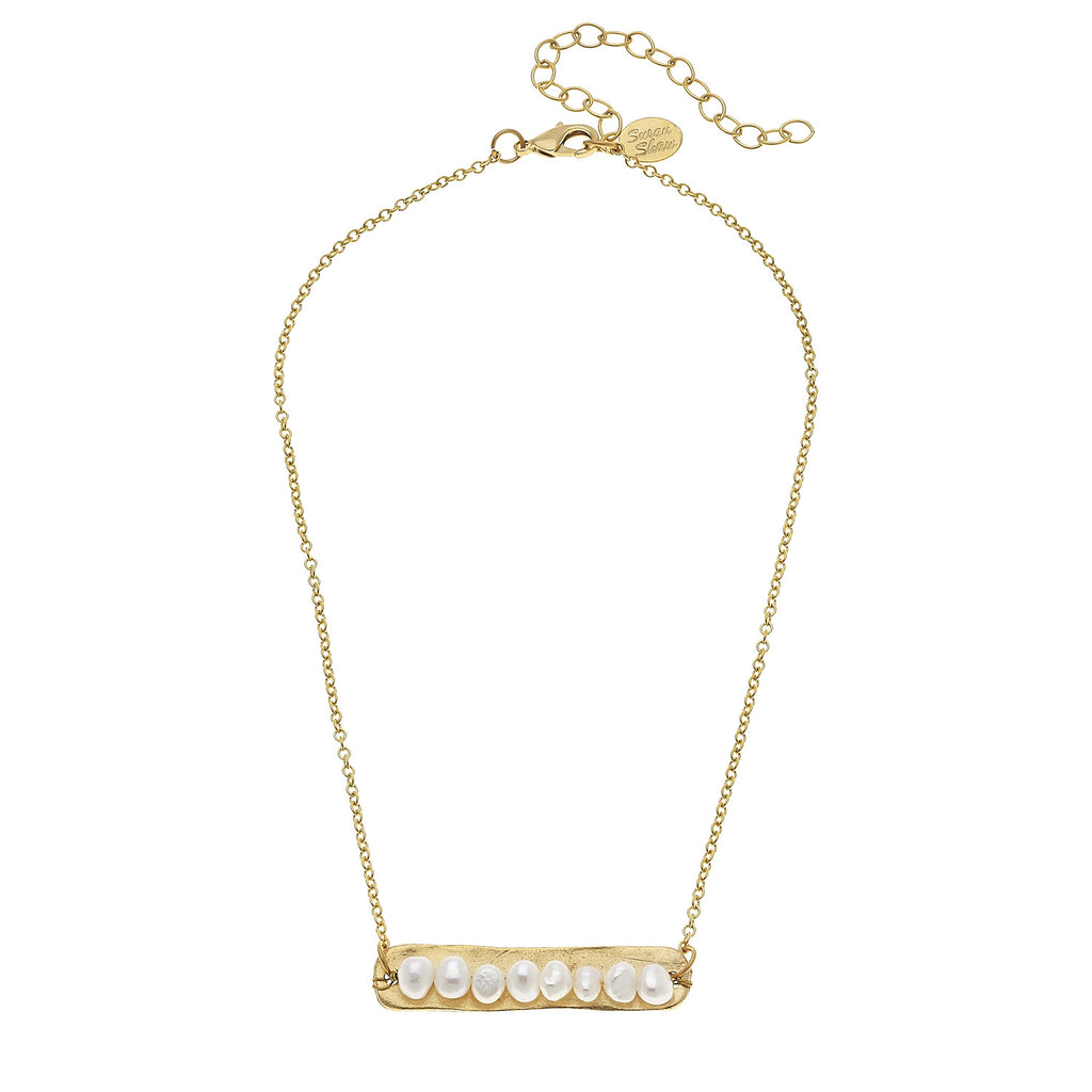 Susan Shaw Genuine Freshwater Pearls on Handcast Gold Bar Necklace