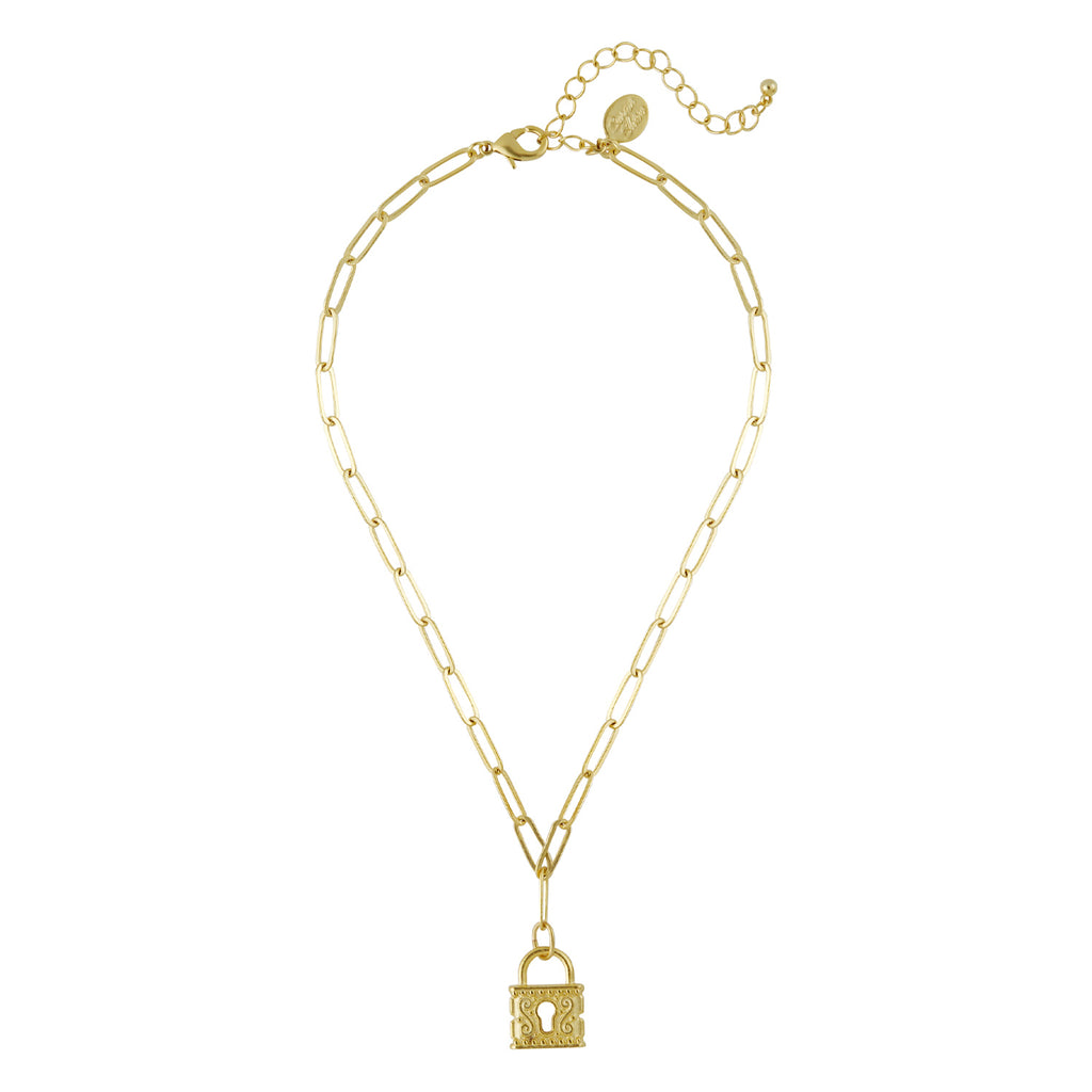 Susan Shaw Lock Paperclip Necklace