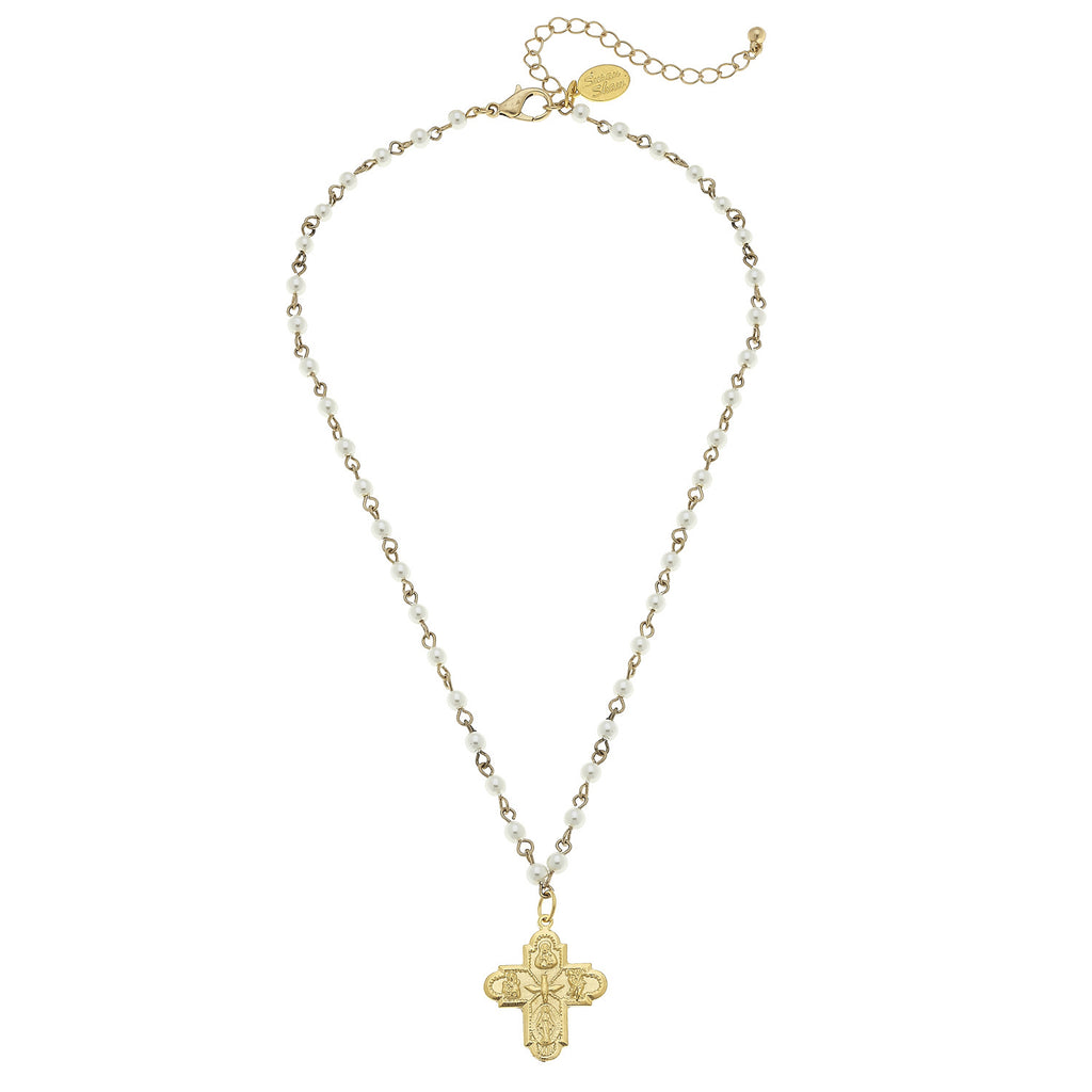 Susan Shaw Textured Cross Pendant on Beaded Gold Chain Necklace