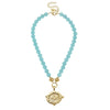 Susan Shaw Handcast Gold Bee on Aqua Quartz Necklace