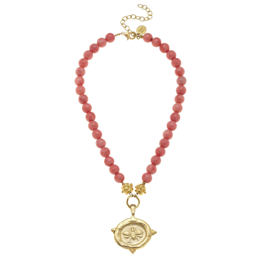Susan Shaw Handcast Gold Bee Intaglio on Pink Coral Necklace