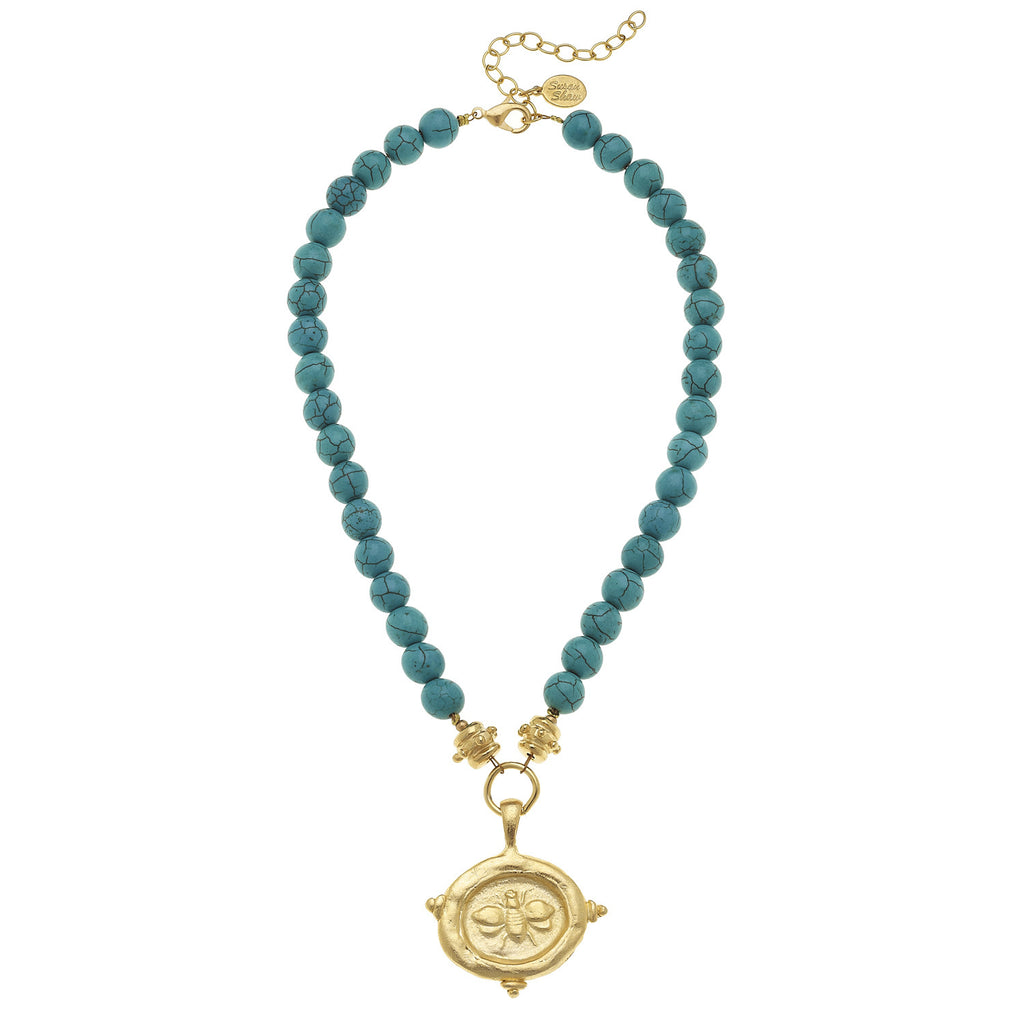 "Susan Shaw Genuine Turquoise with Italian ""Bee"" Intaglio Necklace"