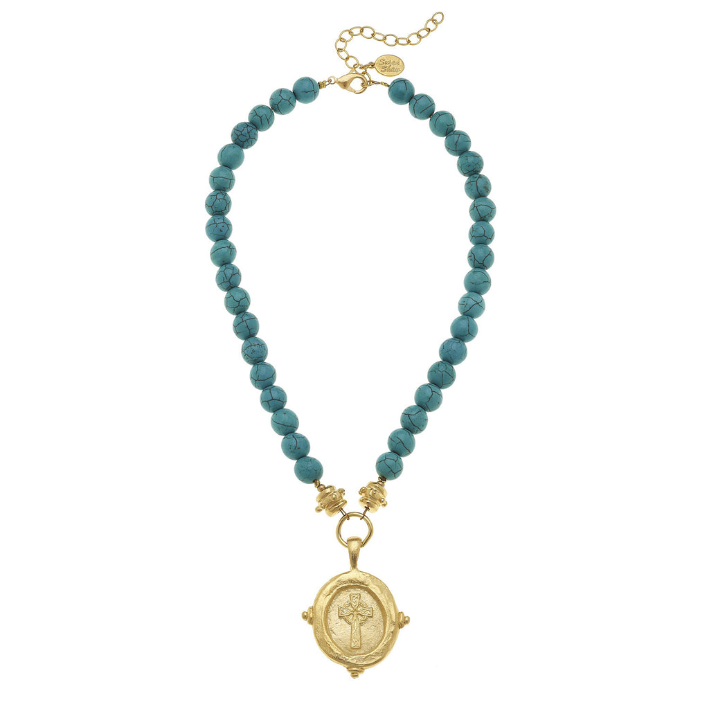 "Susan Shaw Genuine Turquoise with Italian ""Cross"" Intaglio Necklace"