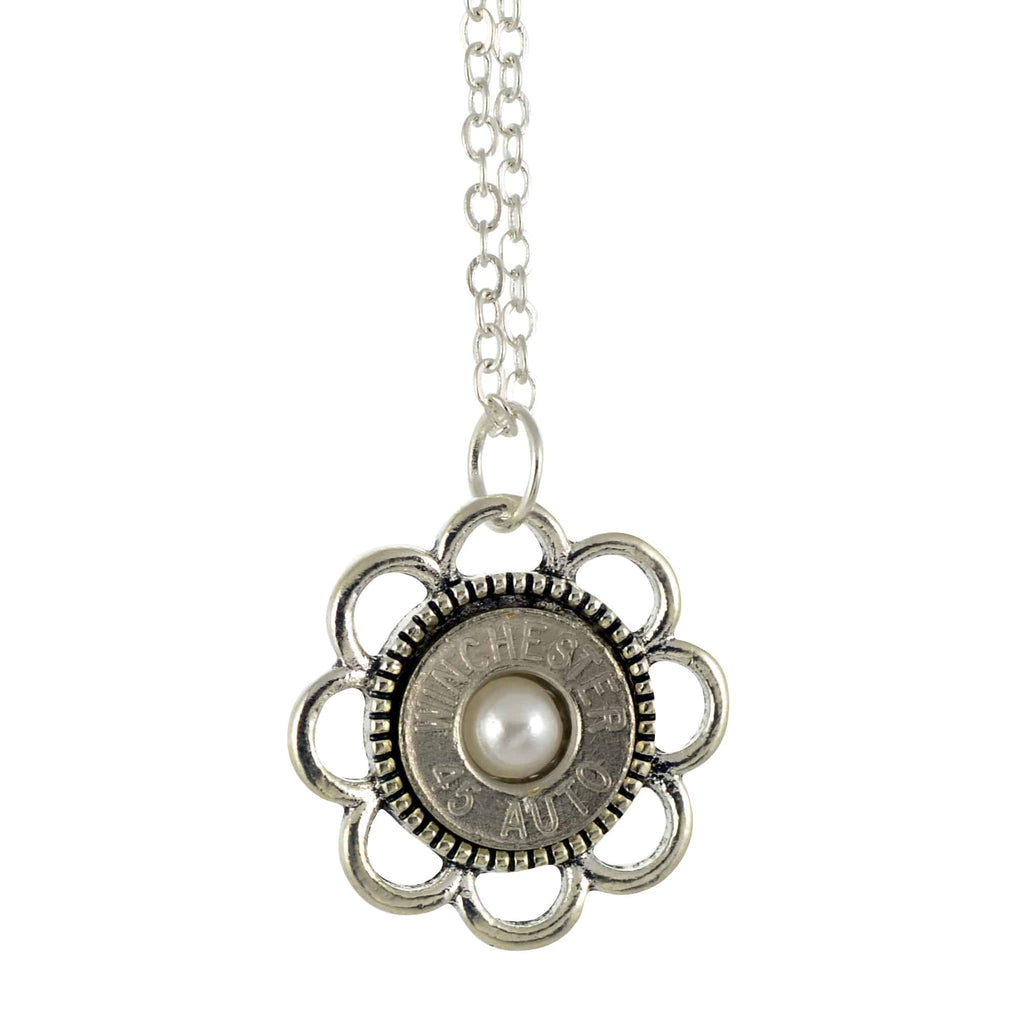 45 Caliber Bullet Casing Necklace, Silvertone Flower Design Pendant with Frost Accent, 18