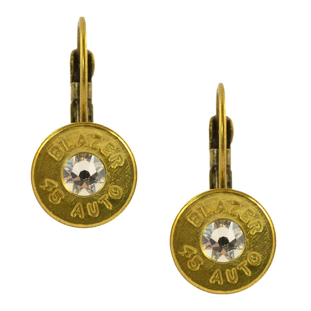 45 Caliber Bullet Leverback Earrings, Brass with Clear Accents