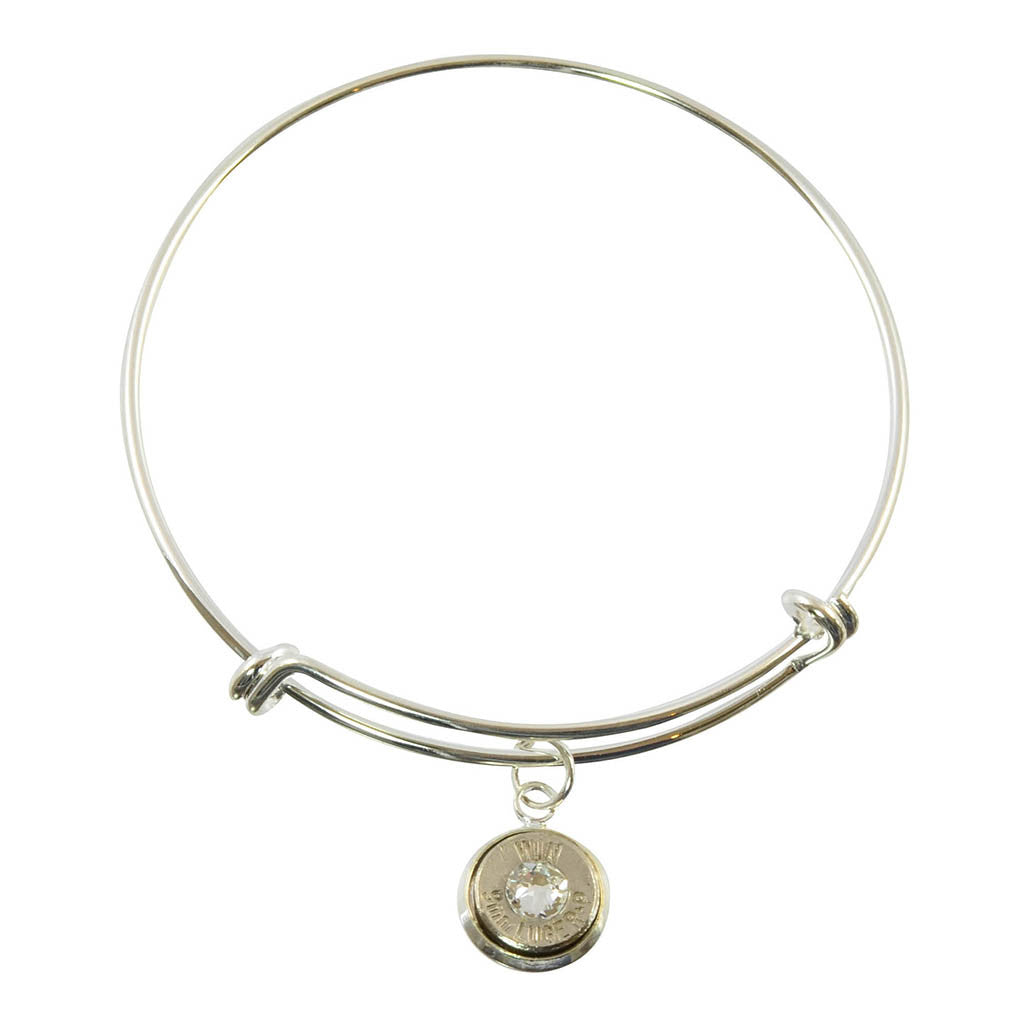 9mm Caliber Bullet Shell Cuff, Adjustable Silvertone Bracelet with Dangling Bullet Charm and Clear Accent