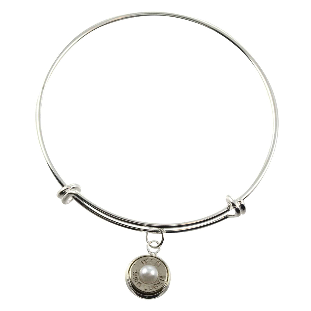 9mm Caliber Bullet Shell Cuff, Adjustable Silvertone Bracelet with Dangling Bullet Charm and Frost Accent
