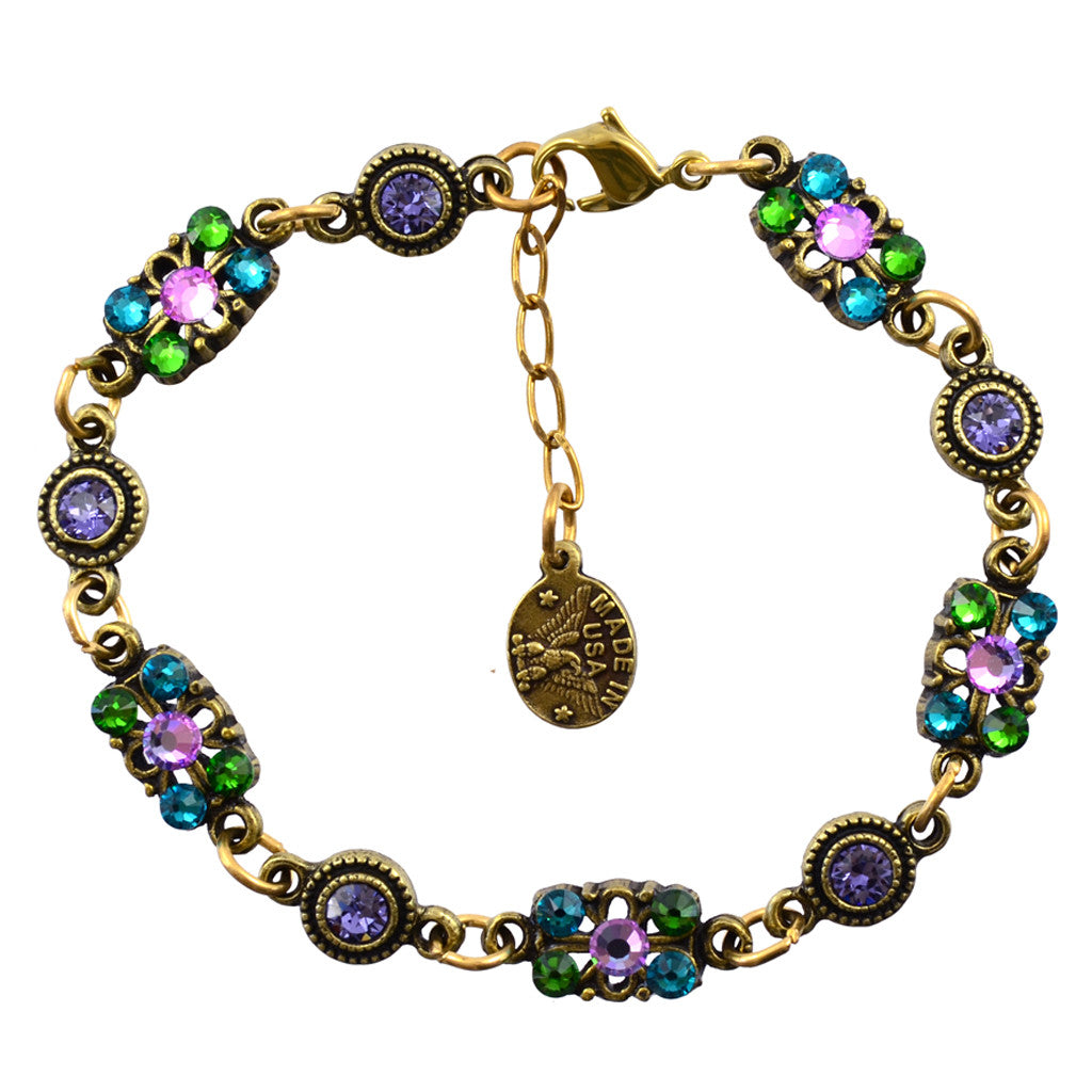 Anne Koplik Mini Butterfly annd Round Link Bracelet, Gold Plated with Swarovski Crystals, 8 BR4715PAS
