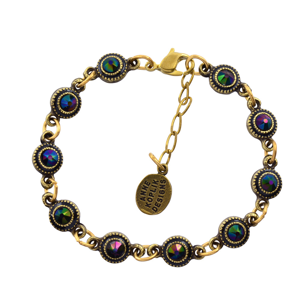 "Anne Koplik Round Element Link Bracelet, Gold Plated, 8"" BR4756RDK"