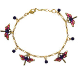 Anne Koplik 4 Dragonfly Crystal Dragonfly Link Bracelet, Gold Plated, 8