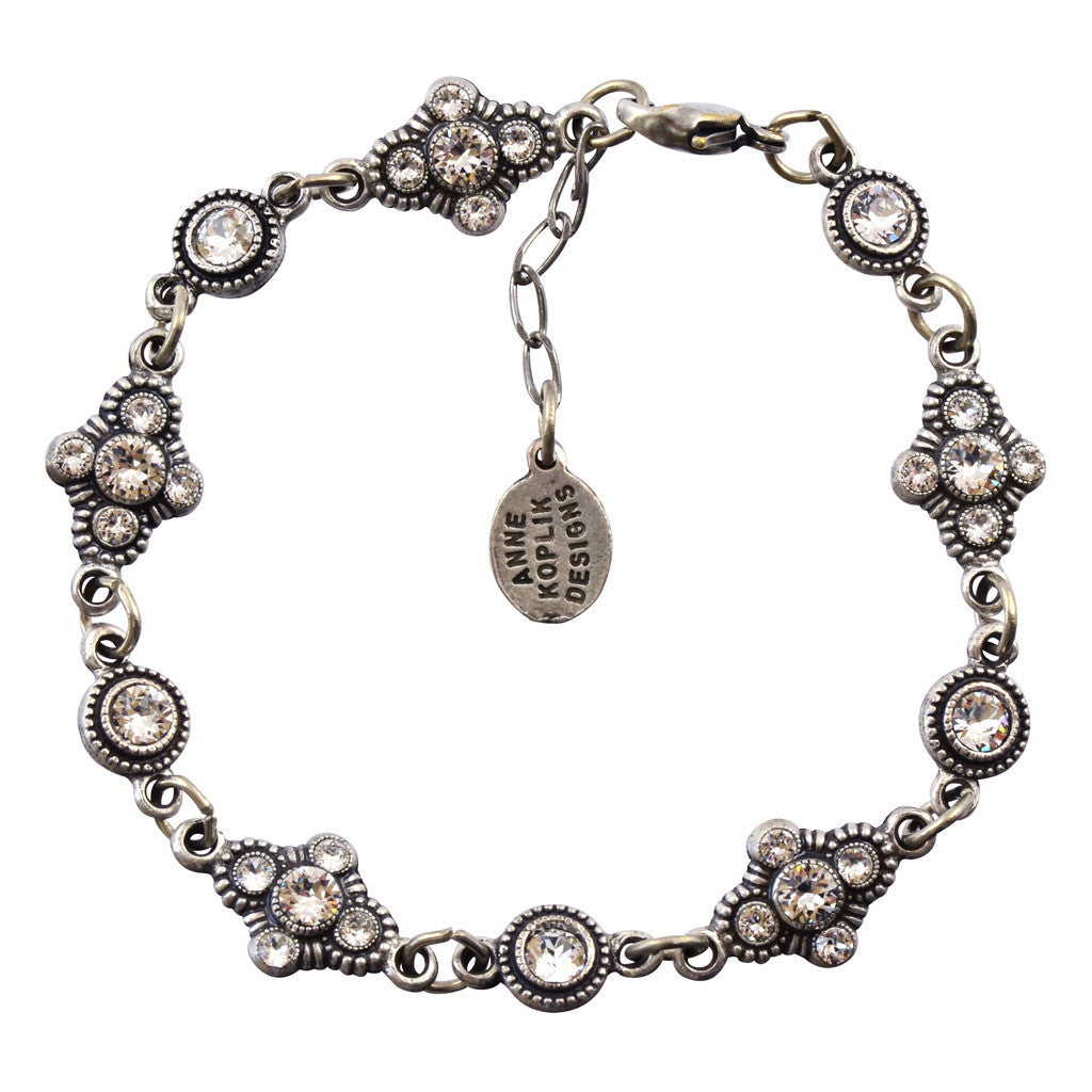 Anne Koplik Fancy Fila Bracelet, Silver Plated with Swarovski Crystals, 8