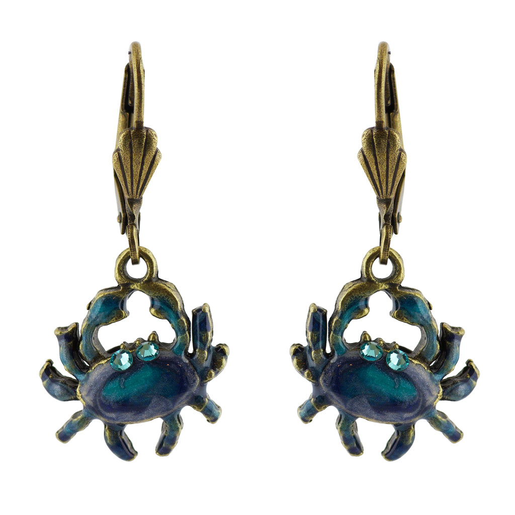 Anne Koplik Crab Earrings, Gold Plated Multicolor Crystal Dangle
