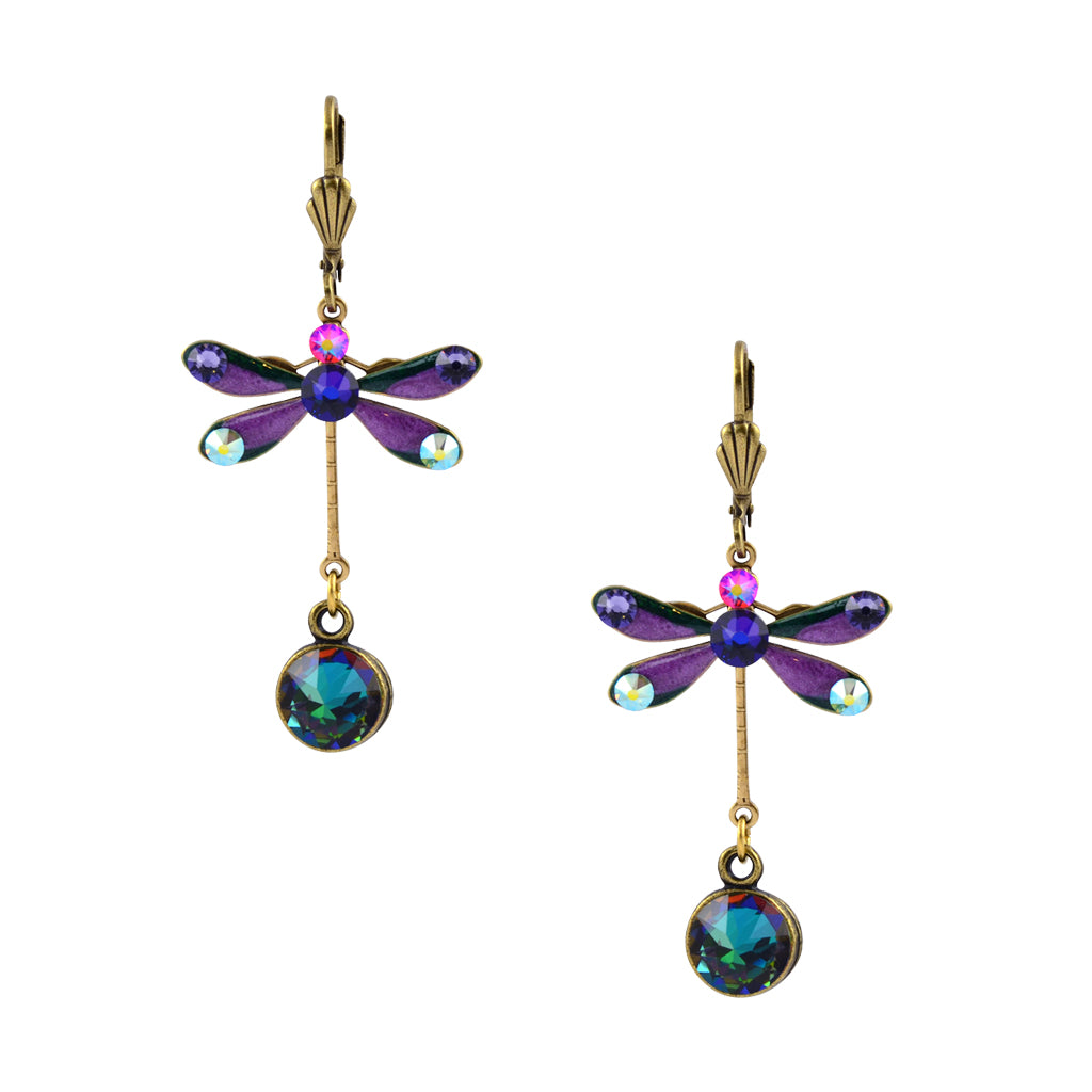 Anne Koplik Gold Plated Multicolor Crystal Tall Enamel Dragonfly Dangle Earrings