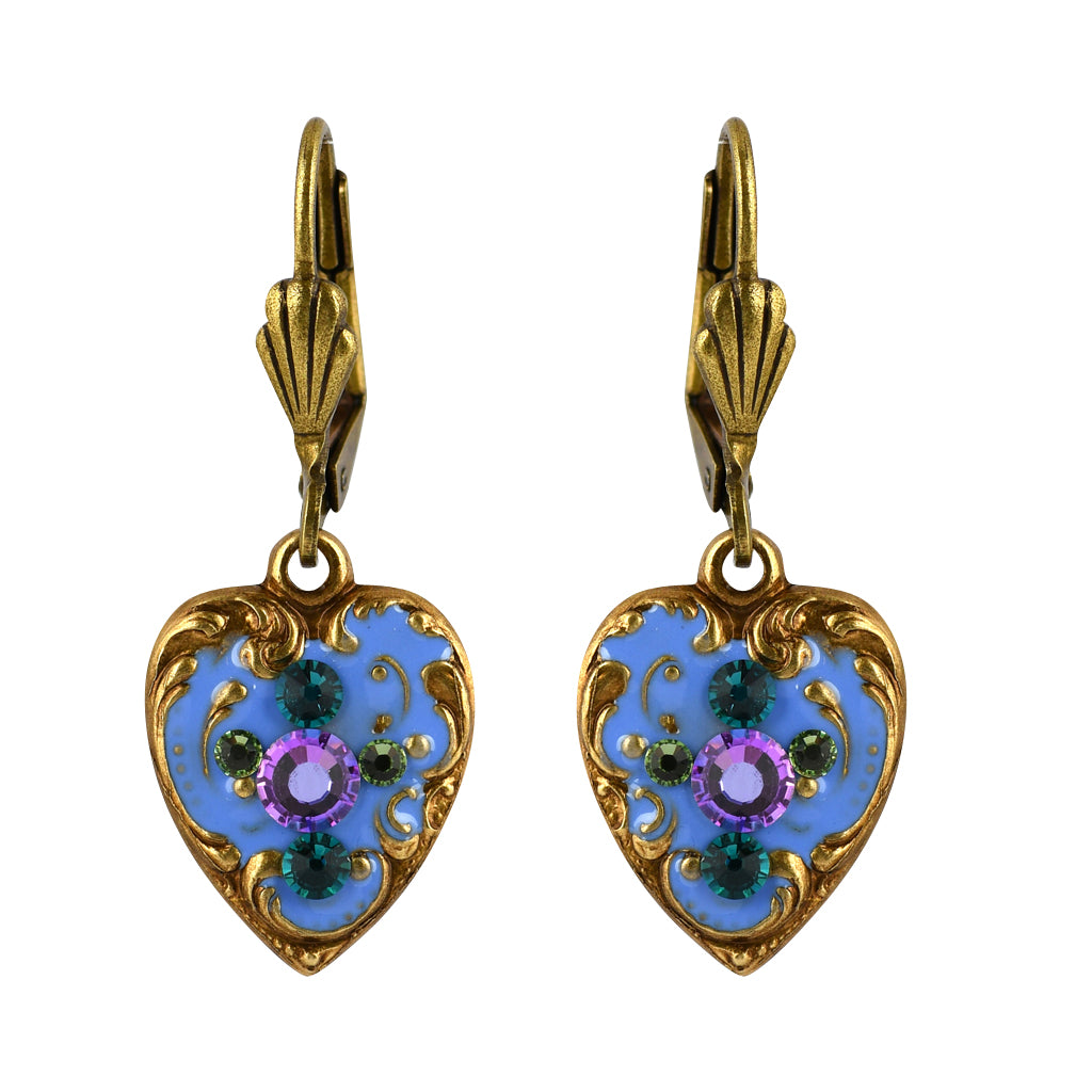 Anne Koplik Pastel Flower Earrings, Gold Plated Purple Crystal Dangle