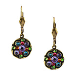Anne Koplik Small Round Drop Earrings, Antique Gold Plated Swarovski Crystal