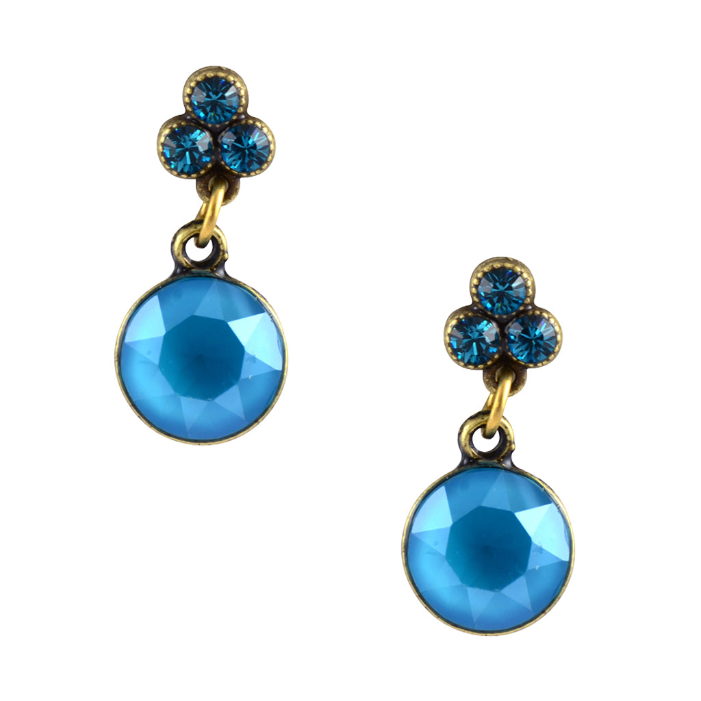 Anne Koplik Gold Plated Clover and Drop Stud Earrings in Blue-Green Crystal