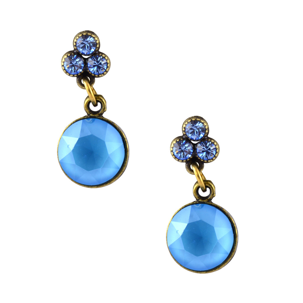 Anne Koplik Gold Plated Clover and Drop Stud Earrings in Blue Crystal