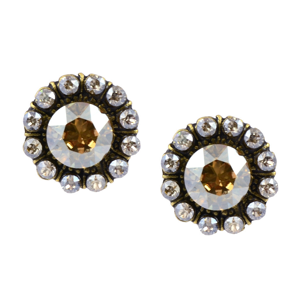 Anne Koplik Faceted Round Stud Earrings, Antique Gold Plated Shade Swarovski Crystal