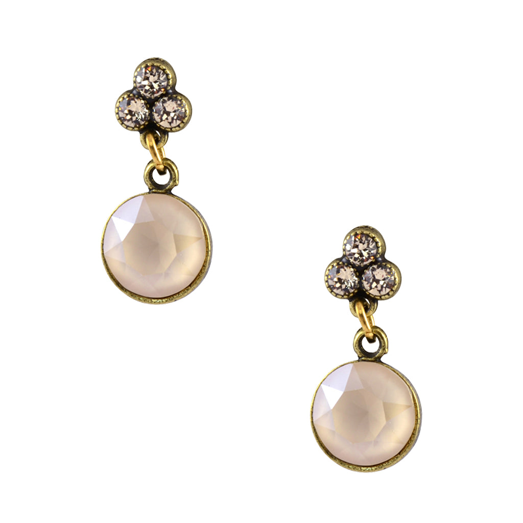 Anne Koplik Gold Plated Clover and Drop Stud Earrings in Cream Crystal