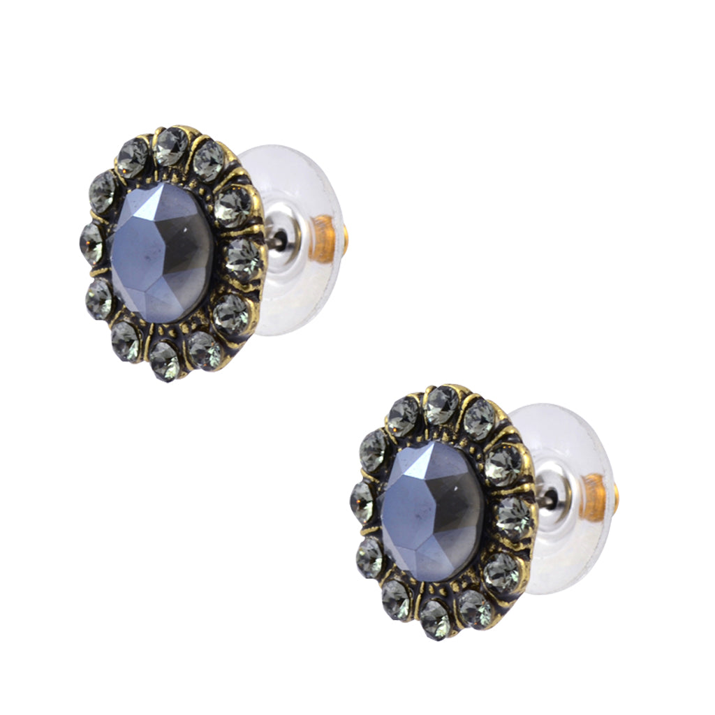 Anne Koplik Gold Plated Round Stud Earrings in Dark Grey Crystal