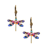 Anne Koplik Gold Plated Multicolor Small Dragonfly Dangle Earrings ER4727MUL