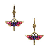 Anne Koplik Gold Plated Multicolor Small Crystal Dragonfly Dangle Earrings