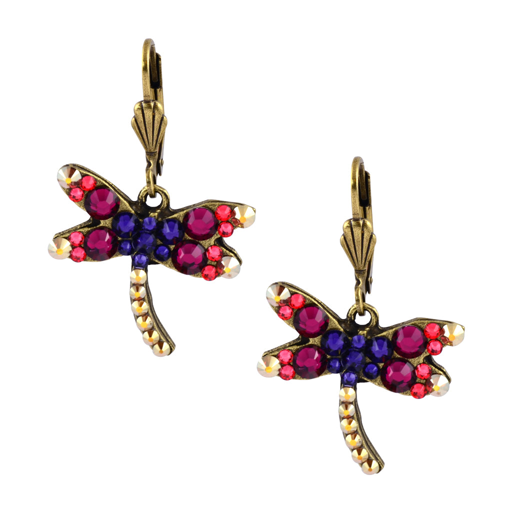 Anne Koplik Gold Plated Multicolor Curly Dragonfly Dangle Earrings