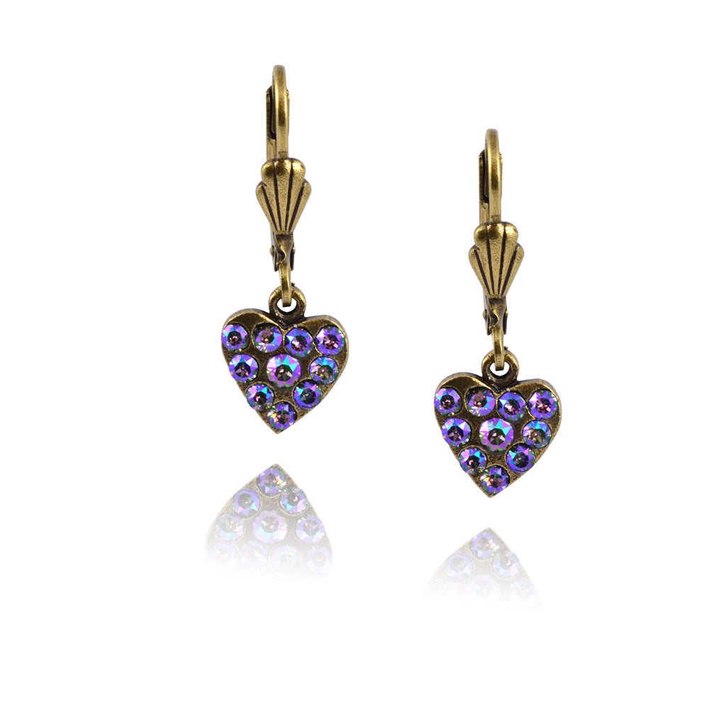 Anne Koplik Ornate Pave Heart Earrings, Gold Plated with Crystal