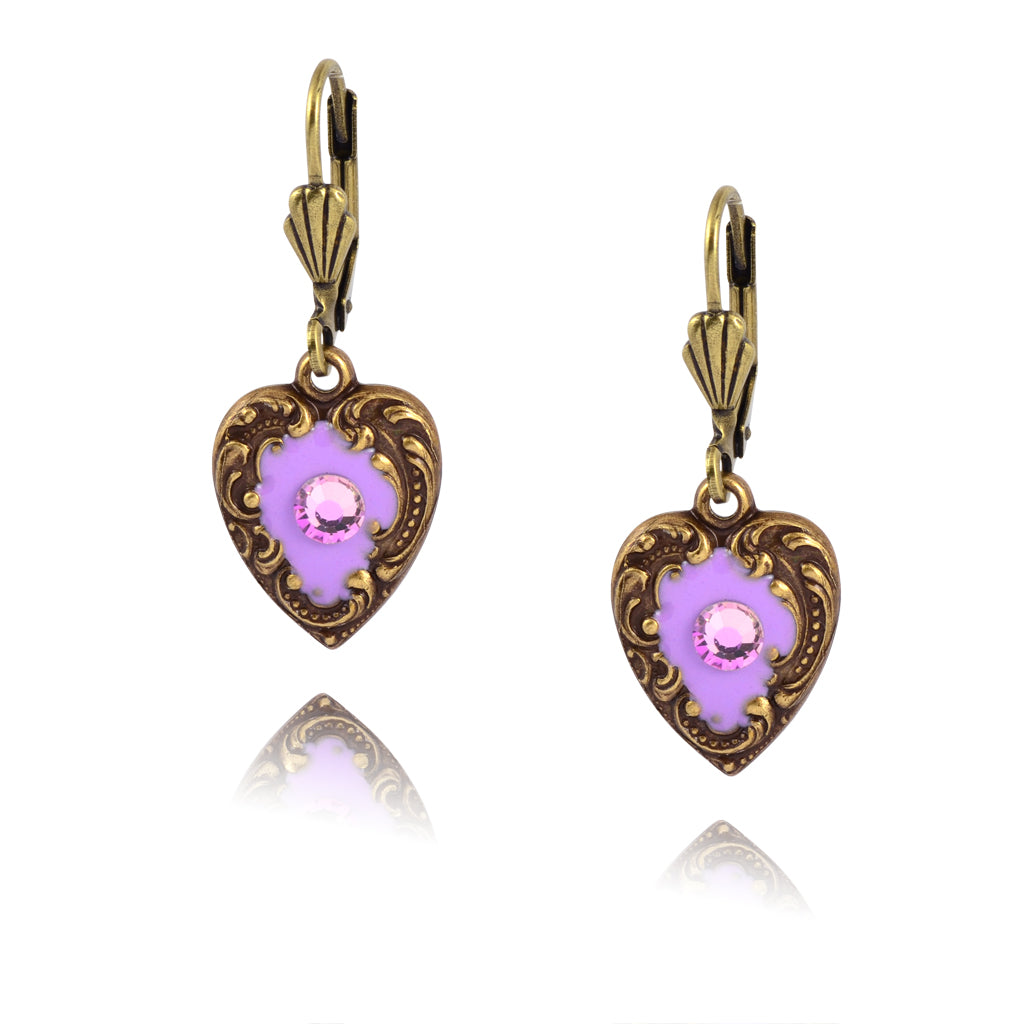 Anne Koplik Purple Enamel Heart Earrings, Gold Plated with Crystal