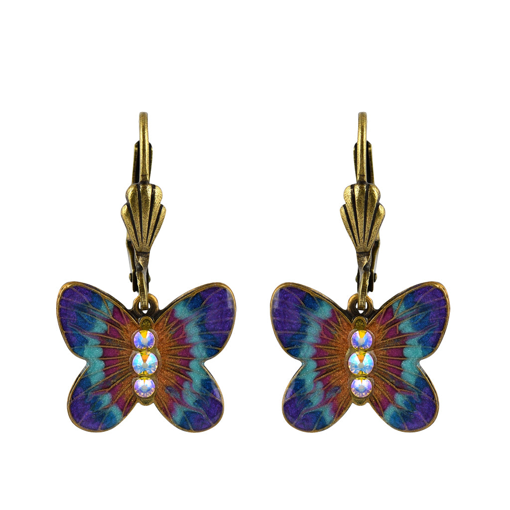 Anne Koplik Butterfly Earrings, Gold Plated Multicolor Crystal Dangle