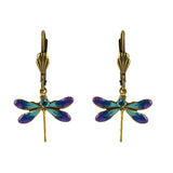 Anne Koplik Dragonfly Earrings, Gold Plated Blue and Purple Crystal Dangle