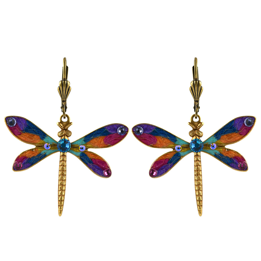 Anne Koplik Dragonfly Earrings, Gold Plated Multicolor Crystal Dangle