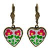 Anne Koplik Enamel Heart Earrings, Gold Plated Multicolor Dangle