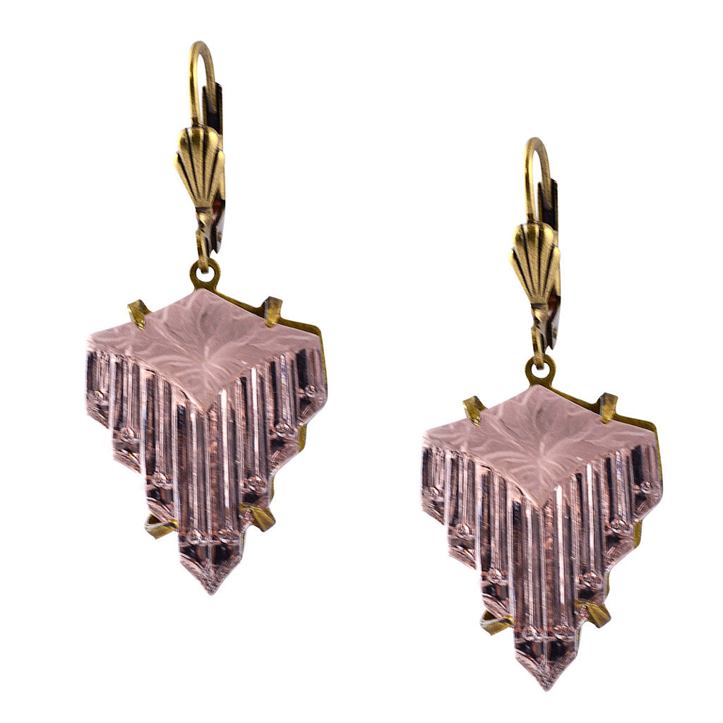 Anne Koplik Vintage Glass Art Deco Drop Earrings, Antique Gold Plated