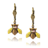 Anne Koplik Ornate Bee Enamel Earrings, Gold Plated with Crystal