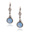 Anne Koplik Circle Earrings, Silver Plated with Light Blue Crystal ES03AIR