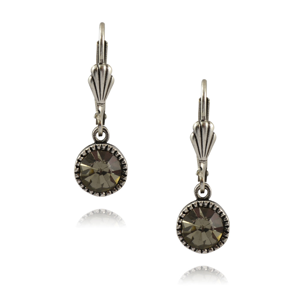 Anne Koplik Circle Earrings, Silver Plated with Gray Crystal ES03BLD
