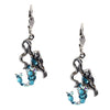 Anne Koplik Mermaid Drop Earrings, Antique Silver Plated Swarovski Crystal